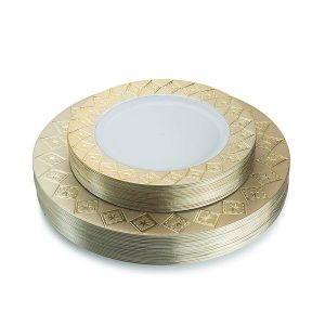 Posh Setting Imperial Collection White:Gold Plastic Plates