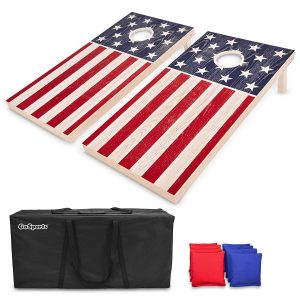 GoSports Flag Series Wood Cornhole Sets with Game Rules and Carrying Case