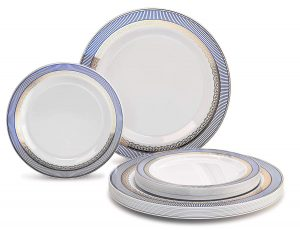 OCCASIONS 240 Pack Heavyweight Blue:Gold Premium Disposable Plastic Plates Set