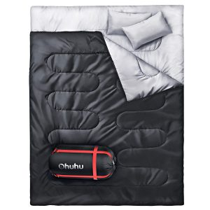 Ohuhu Double Waterproof Lightweight Sleeping Bag with 2 Camping Pillows