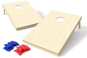 Backyard Champs Wood Cornhole Set with 8 Bags