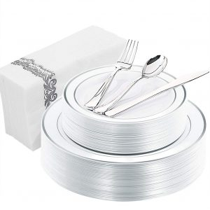 WDF 150PCS Silver Rim Disposable Plastic Plates