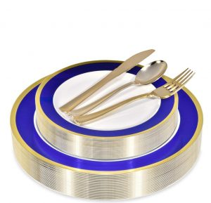 Stock Your Home 125 Piece Rimmed Disposable Plates (Blue:Gold)