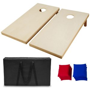 AceLife Solid Premium Wood Cornhole Set with Carrying Case