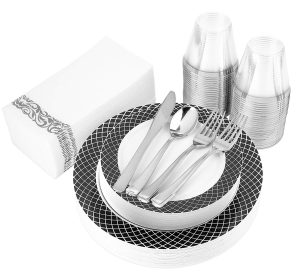Stock Your Home 200 Piece Disposable Dinnerware Set (Black & White)