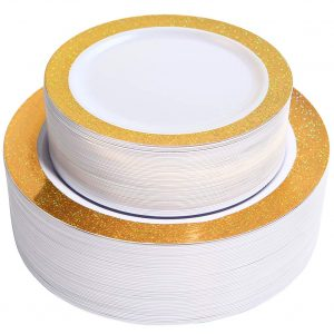 NERVURE 102 Premium Heavyweight 51PCS Disposable Plastic Plates