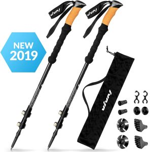 VIVA! Ultra Strong Trekking Poles 2 Walking Sticks Flip Lock Hiking Poles