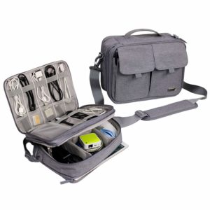 Electronics Organizer Gadget Gear Storage Bag (Light Gray)