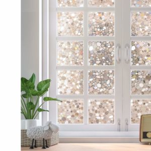 Rabbitgoo Privacy Decorative 3D Pebble Glass Window Film