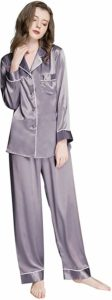 Womens Silk Satin Button-Down Sleepwear Pajamas Set