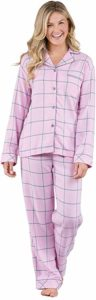 PajamaGram Soft Flannel Button-Front Pajamas Women