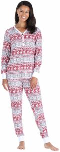 Olivia Rae Thermal Women's Jogger Pants and Long Sleeve Henley Pajama Set