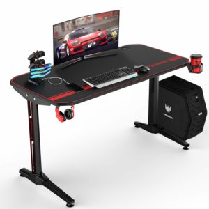 VITESSE 47 Inch PC Computer Desk Ergonomic Gaming Desk with Headphone Hook and Stand Cup Holder