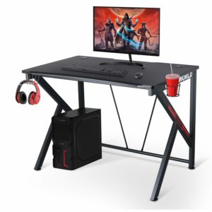 LYNSLIM Ergonomic Gaming Desk with Cable Management and Headphone Hook (Black)