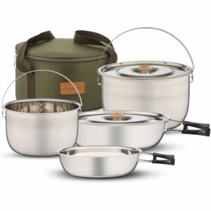 Wealers Stainless Steel Camping Compact Pots and Pans Cookware Set