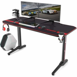 Vitesse Gaming Desk Computer Desk with Cup Holder, USB Handle Rack and Free Mouse pad (Black)