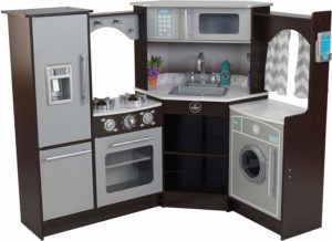 KidKraft Ultimate Corner Espresso Play Kitchen with Sounds and Lights