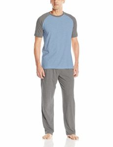 Hanes Men's Adult Short Sleeve X-Temp Raglan Pants and Shirt Pajamas Lounge Set