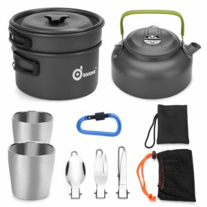 Odoland Camping Picnic Hiking Lightweight Cookware Mess Kit for Backpacking