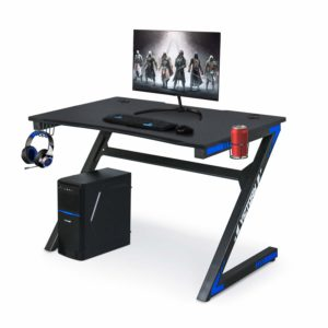 YIGOBUY Computer Gaming PC Desk Table with Headphone Hook, Cup Holder, and Carbon Fiber Surface