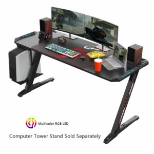 EUREKA ERGONOMIC Z60 60 inches Gaming Desk with Mouse Pad and LED Lights Controller Stand