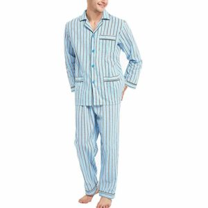 GLOBAL 100% Cotton Woven Men's Pajamas Set with Pants and Top