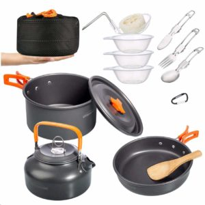 Overmont Camping Hiking and Picnic Cookware Mess Kit with Pan, Pot, Spoon Kit