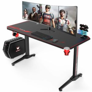 VANSPACE 55 Inch T-Shaped Gaming Desk with Headphone Hook and USB Handle Rack