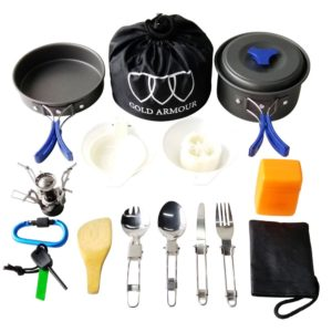Gold Armour Camping Cookware Kit Lightweight Backpacking Gear 17 Pieces (Blue)