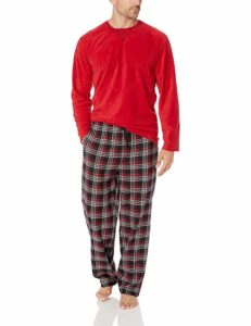 IZOD Men's Yarn-dye Microfleece Crew Top and Flannel Pant Pajama Set