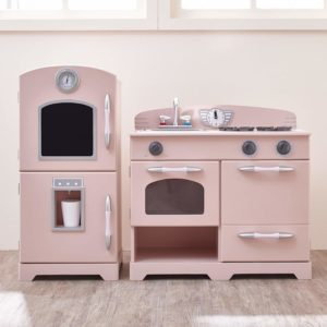 Teamson Kids 2 Pieces Retro Wooden Play Kitchen, Pink