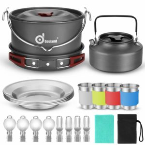 Odoland Camping Cookware 22pieces Mess Kit for Outdoor Camping Picnic and Hiking