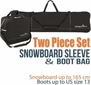 Athletico Two-Piece Boot and Snowboard Bag Combo (Black)