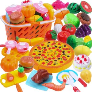 DigHeath 35pcs Pretend Vegetables and Fruits Play Food Set with Realistic Basket