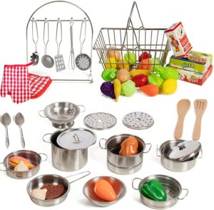 IQ Toys 50 Piece Utensils Pans Pots Complete Pretend Play Kitchen and Food Set
