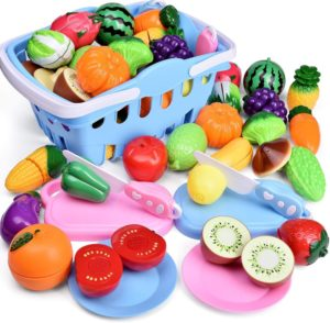 FUN LITTLE TOYS 53 Pieces Pretend Cutting Play Food Toys for Kids