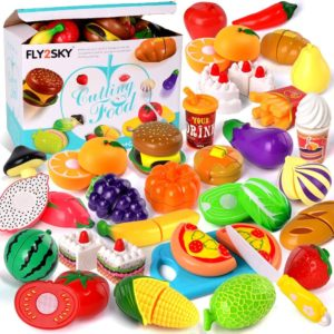 FLY2SKY 60 Pcs Play Cake Food Toys for Toddlers Boys and for Kids Girls