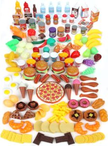 Mommy Please 202 Piece Pretend Play Food Set for Kids Kitchen Toys
