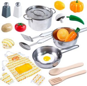 JOYIN Kitchen Pretend Play Stainless Steel Accessories Toys Pots and Pans Set