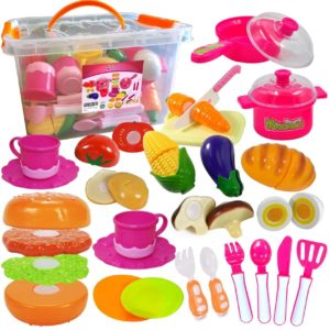 FUNERICA Set of Pretend Play Dishes and Food Cookware Cutting Play set with Cutting Board