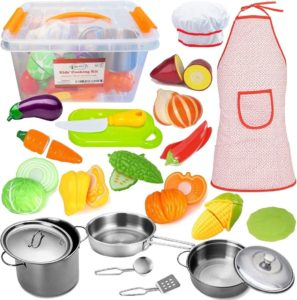 FUNERICA Toddler Play Stainless-Steel Kitchen Accessories Set with Beautiful Storage Container