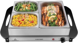 Chefman Buffet Server with 14 x 14 Surface Warming Tray